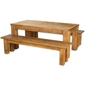 SOLID WOOD DINING TABLE AND BENCHES CHUNKY RUSTIC PLANK SAWN PINE Any Size Ma