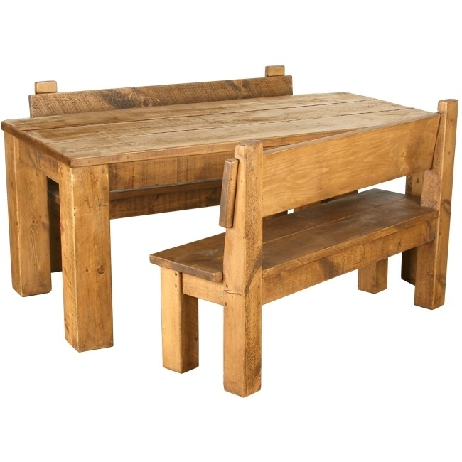 Bespoke Solid Wood Dining Table Benches Set Chunky Rustic Plank Pine Furniture Ebay