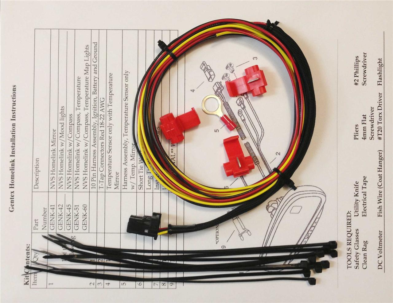 Gntxt Gentex 511 Wiring Diagram Gntx 313 453 Homelink Auto Dimming Rear View Mirror