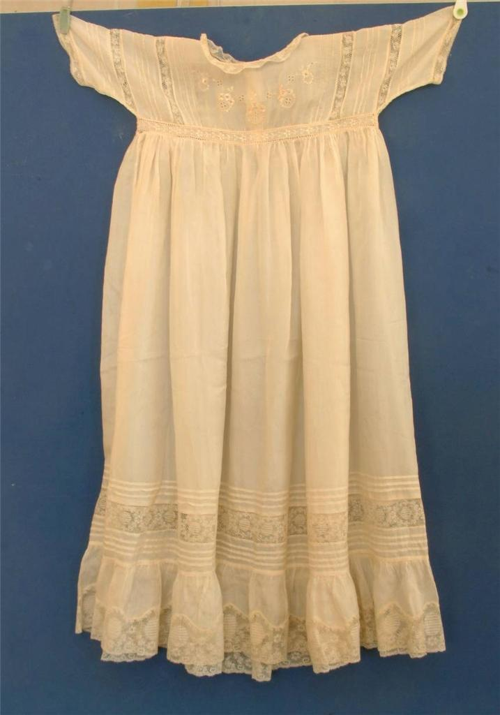 Antique silk lace embroidered Christening baby gown dress ...