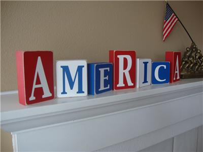 4th Of July America Primitive Country Shelf Home Decor Wood Block Letters Ebay