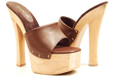 Wood platform high heel sandals