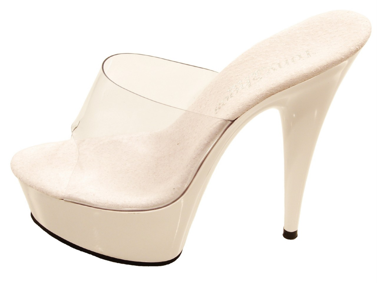 tony shoes 106 clear white 6 quot high heel platform slides ebay