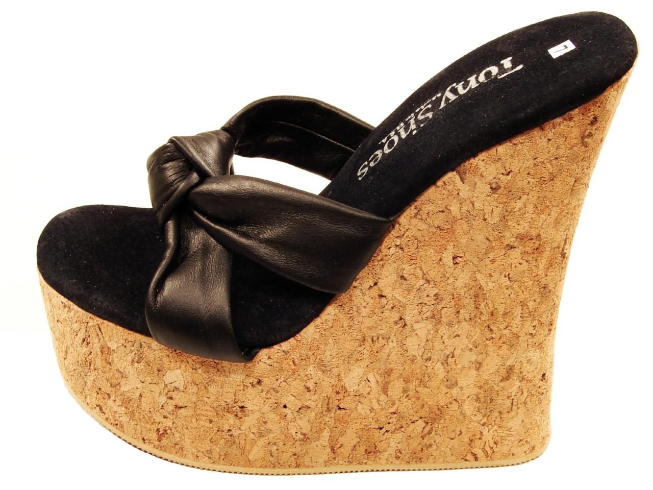 Tony Cbqredxow 533 Black Wedge Cork Shoes Sandals Platform W pVqUSLzGM