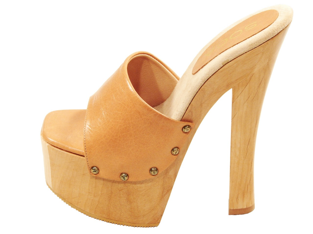 With wood platform high heel sandals brilliant
