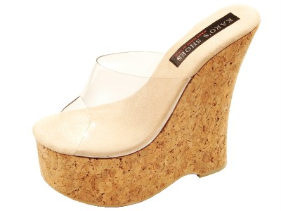 KARO SHOES 0924 CORK PLATFORM SLIP ON CLEAR UPPER SANDAL MULES