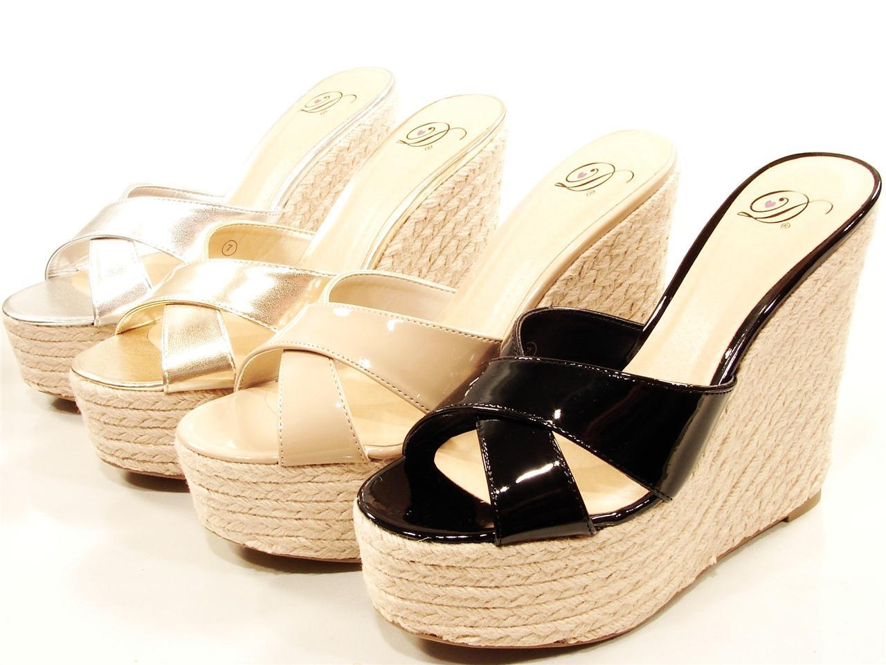 Womens High Wedge Heel Rope Espadrille Mules Sandals Pat Blacktan