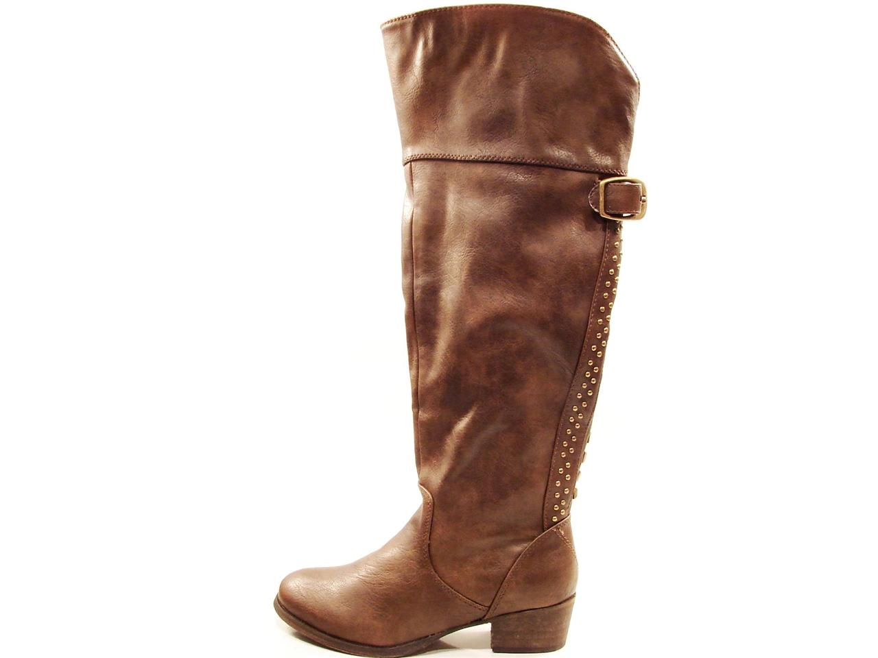 Creative Details About Women Ladies Studded Leather Tall Cowboy Boots Western