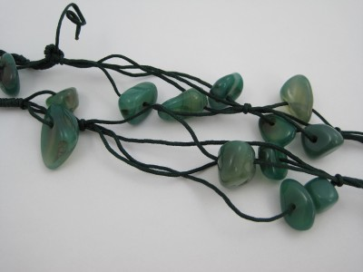 Chunky Multi Strand Green Jade Stone Cluster Bead On Cord Necklace
