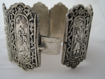 Antique Chinese Art Deco Wide Repousse Figural Bracelet Silver Plated