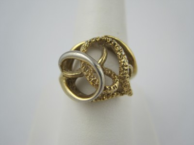 18kt HGE Gold Plated Textured Swirl Cocktail Ring 8