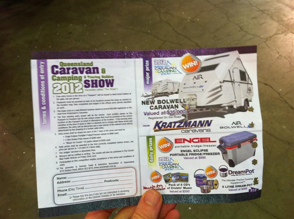 The competition prize from the QLD Caravan and Camping Show