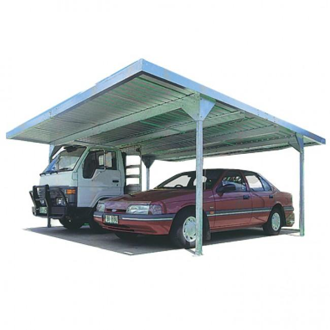Absco double carport skillion roof carports zincalume ebay for Skillion roof definition