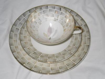 3pc eschenbach elfenbein porzellan bavaria german floral deco cup saucer plate ebay. Black Bedroom Furniture Sets. Home Design Ideas