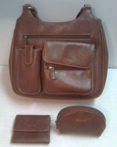Brown Vinyl STRADA Handbag With Wallet & Makeup Bag.