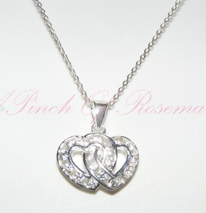 Sterling Silver 2 Hearts Necklace Intertwined with Cubic ...