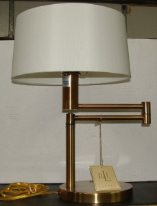 ralph lauren satin brass swing arm table lamp silk. Black Bedroom Furniture Sets. Home Design Ideas