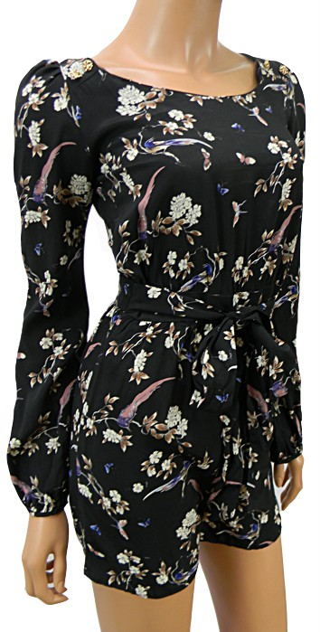 ATMOSPHERE-BLACK-FLORAL-BIRD-PLAYSUIT-NEW-SIZE-8-20
