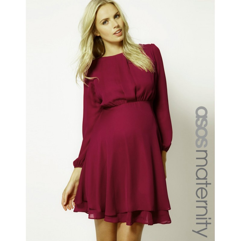 ASOS-MATERNITY-DRESS-WINE-OR-ROSE-BNWT-SIZE-8-14-DOUBLE-LAYER-LONG-SLEEVES