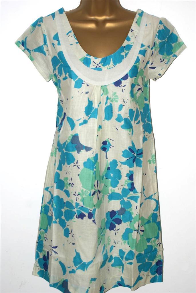 WHITE-STUFF-CREAM-BLUE-GREEN-FLORAL-DRESS-SIZE-8-18-NEW-TUNIC-SMOCK-SUN-SHIFT