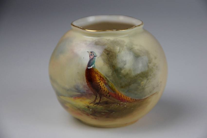 Royal Worcester Vase G161 Signed Jas Stinton 1909 Hand Painted