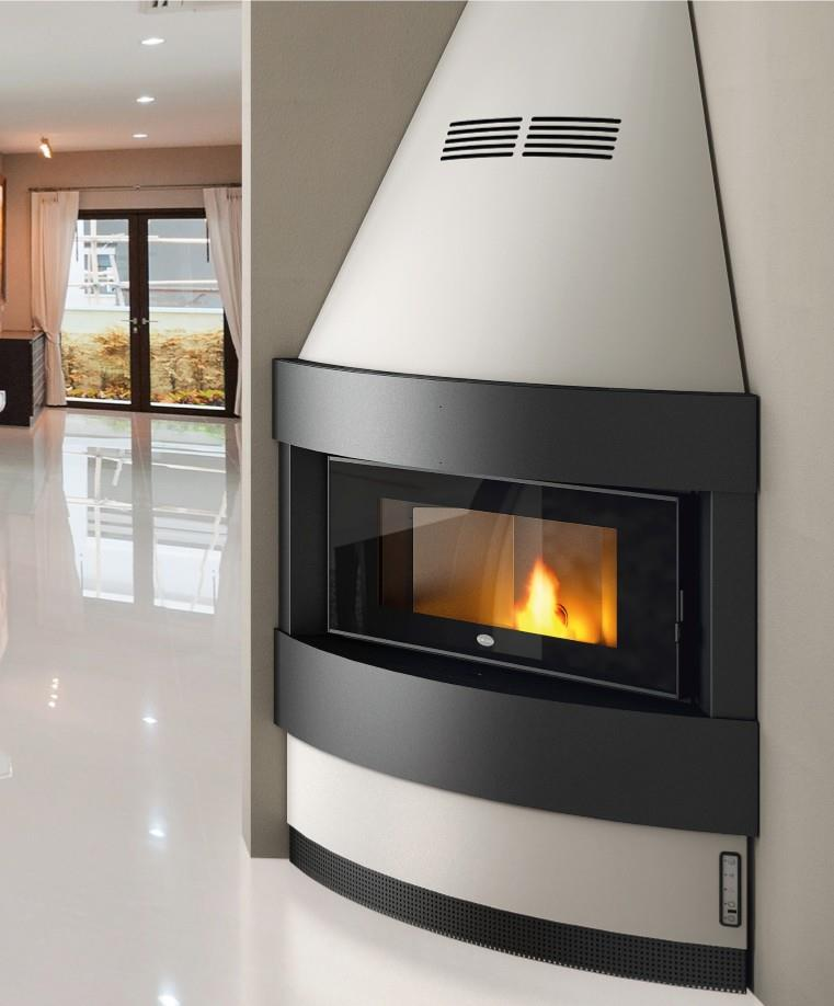 cheminee insert a angle a granules pellet eva calor raffaello 12 kw ebay. Black Bedroom Furniture Sets. Home Design Ideas