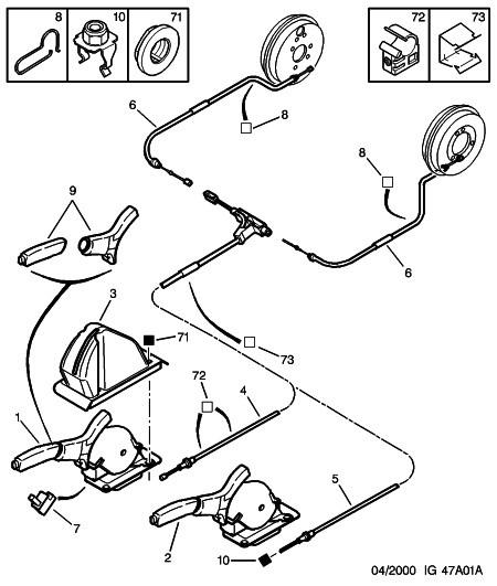 handbrake cable for peugeot 406 right 4745l5 geniune