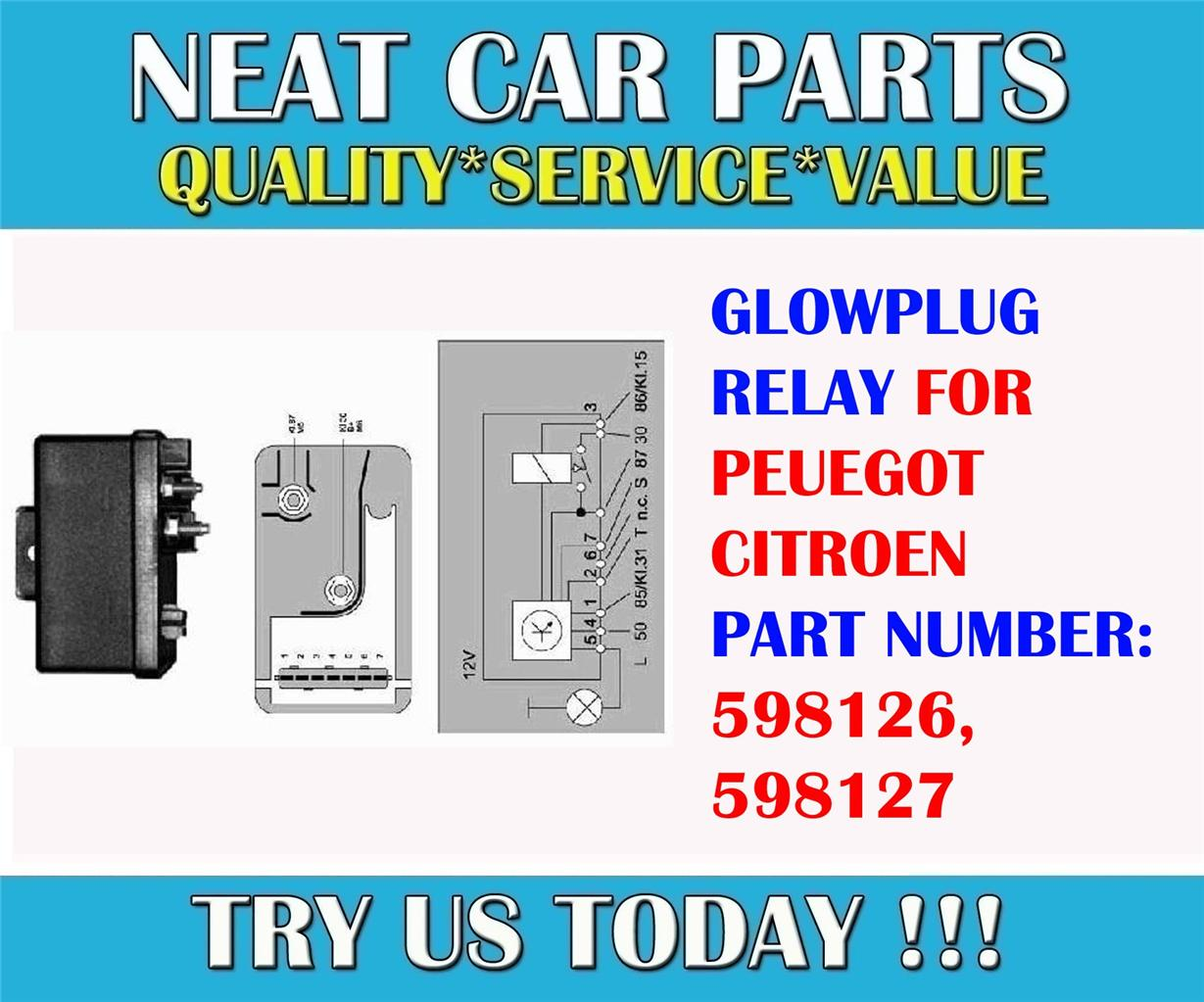 glow plug relay for peugeot 106 205 306 405 expert boxer partner 1 8d 1 9d 2 5td. Black Bedroom Furniture Sets. Home Design Ideas