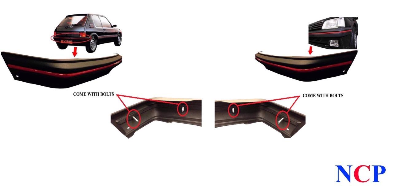 peugeot 205 gti mk1 83 90 front rear bumper grey with trim bolts ebay
