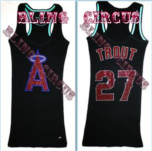 Bling Womens Mike Trout Sparkle Anaheim Angels Jersey Tank Top T Shirt