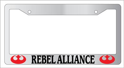 Chrome License Plate Frame Rebel Alliance Red Auto