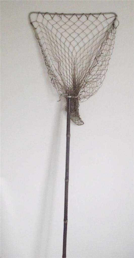 Vintage-Cane-Handled-Landing-Net-65-inches-Fishing