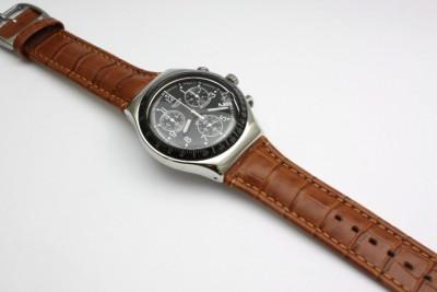 swatch men irony chrono dark phoenix brown leather band