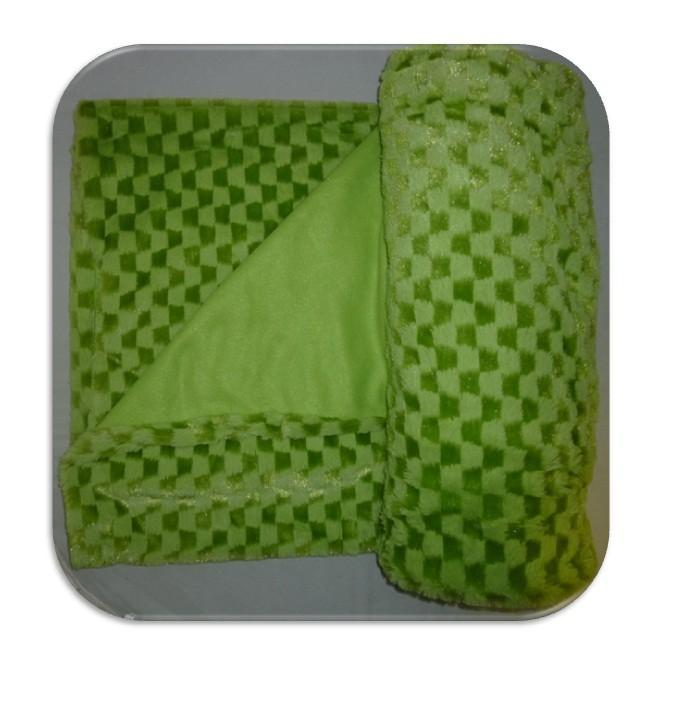 new lime green check mink blanket throw faux fur fleece ebay. Black Bedroom Furniture Sets. Home Design Ideas