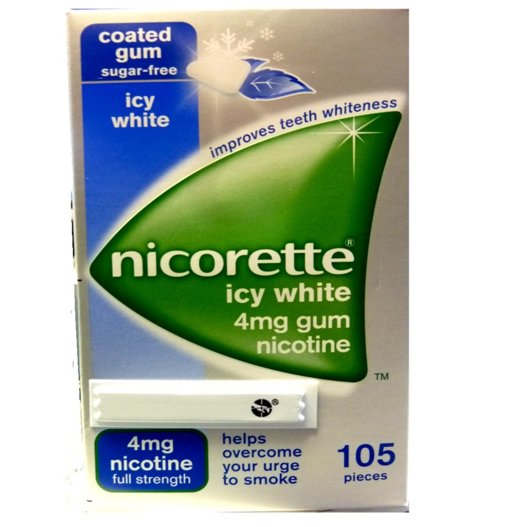 NICORETTE-ICY-WHITE-CHEWING-GUM-4MG-105-PC-STOP-SMOKING-NICOTINE-SUGAR-FREE-GUM