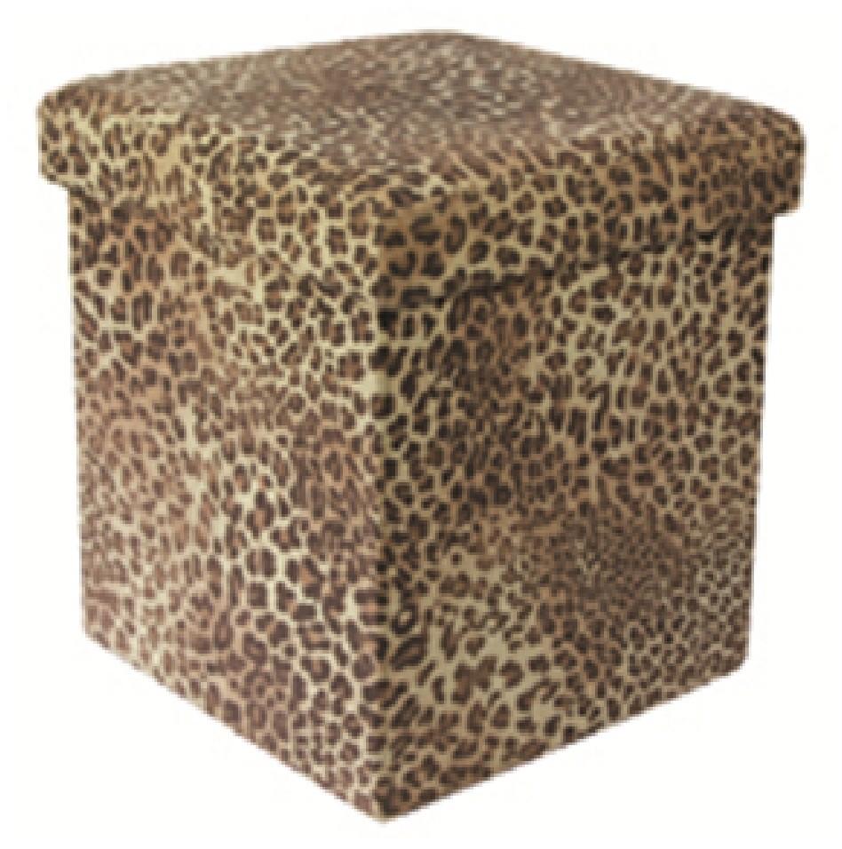 JUNGLE ANIMAL PRINT FOLDING STORAGE POUFFE FOOT REST STOOL OTTOMAN TOY BOX  SEAT - JUNGLE ANIMAL PRINT FOLDING STORAGE POUFFE FOOT REST STOOL OTTOMAN