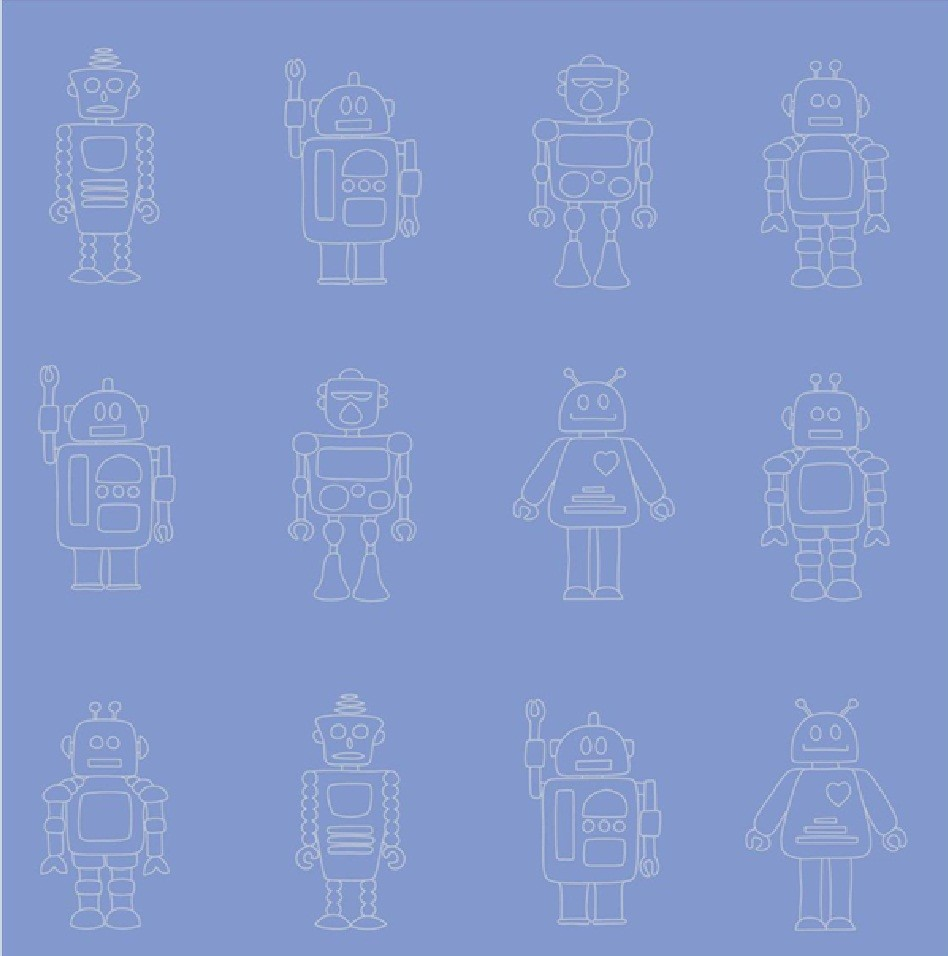 Space Wallpaper Childrens Bedroom NEW HOOPLA SPACE ROBOT PRINT CHILDRENS KIDS BEDROOM M WALLPAPER ROLL