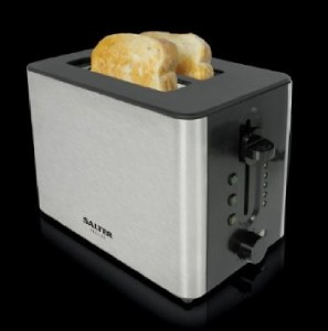 NEW SALTER BLACK SILVER ILLUMINATED LED 2 SLICE TOASTER BREAD TOAST MAKER 132...