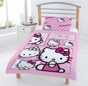 set housse couette hello kitty lit simple 01137. Black Bedroom Furniture Sets. Home Design Ideas