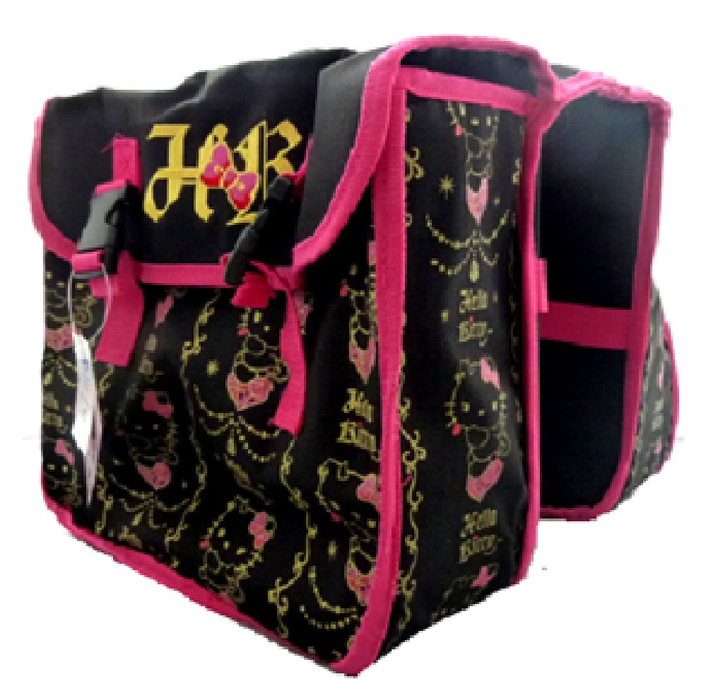 NEW-HELLO-KITTY-BICYCLE-BIKE-CYCLE-PINK-BLACK-TWIN-DOUBLE-REAR-RACK-PANNIER-BAG