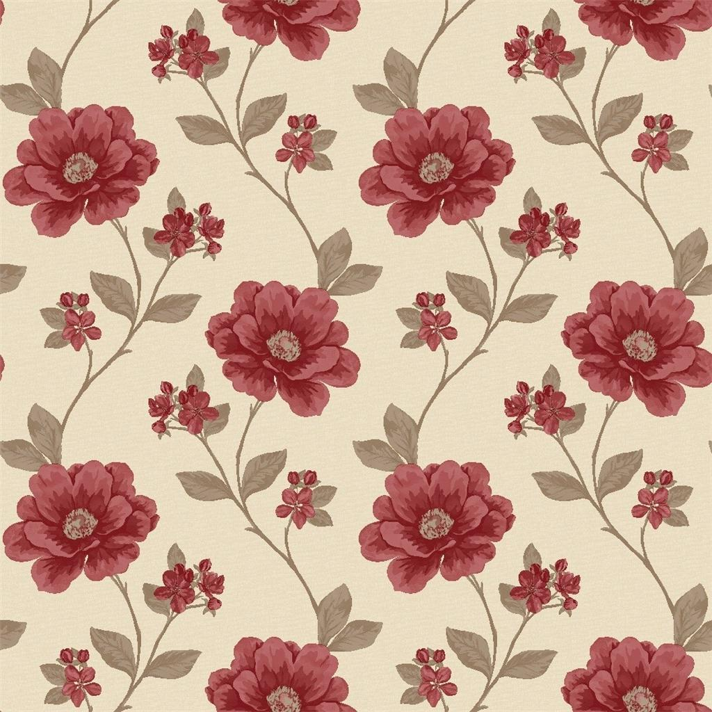 Red floral wallpaper for walls for Red wallpaper designs for walls