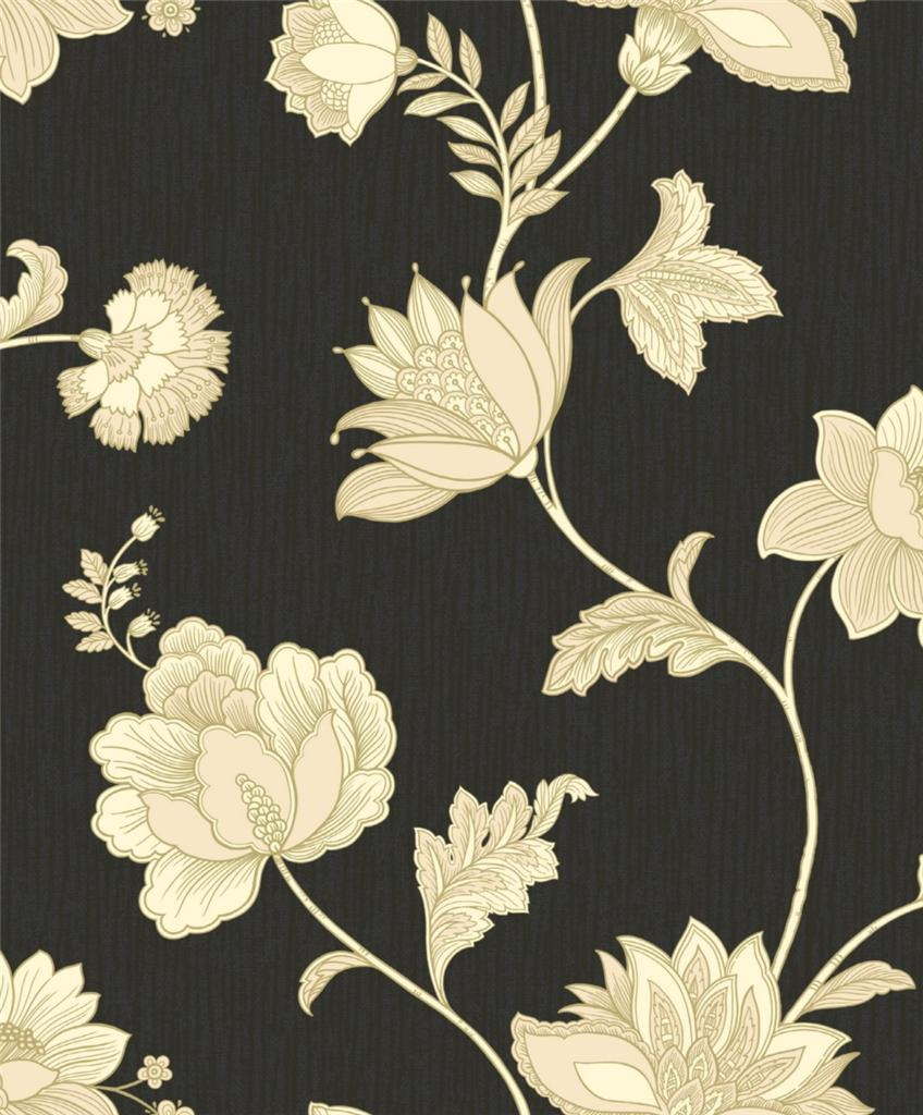 Black wallpaper cream flowers all wallpapers desktop for Black and cream wallpaper