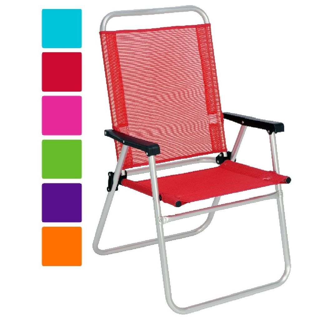 NEW ALUMINIUM HIGH BACK BEACH FOLDING CHAIR GARDEN PATIO FOLDABLE CAMPING CHI