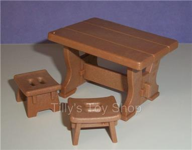 Playmobil table rustic style 2 stools castle for Table playmobil