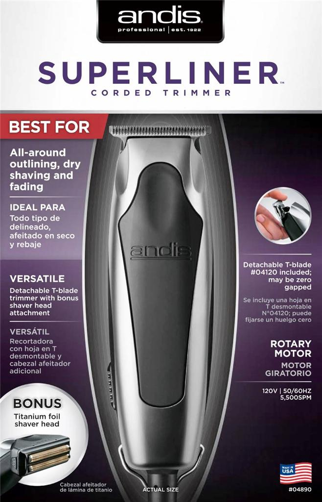 andis superliner hair trimmer 04890 cut bonus ttitanium foil beard shaver head. Black Bedroom Furniture Sets. Home Design Ideas