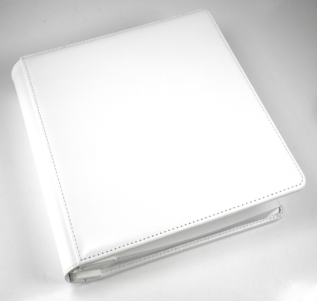 8x10 Wedding Albums: Genuine Leather Wedding Photo Album WHITE Postbound 8X10