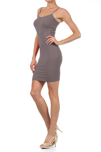 Women-Seamless-Extra-Long-Tunic-Mini-Dress-Camisole-Spaghetti-Strap-Tank-tops