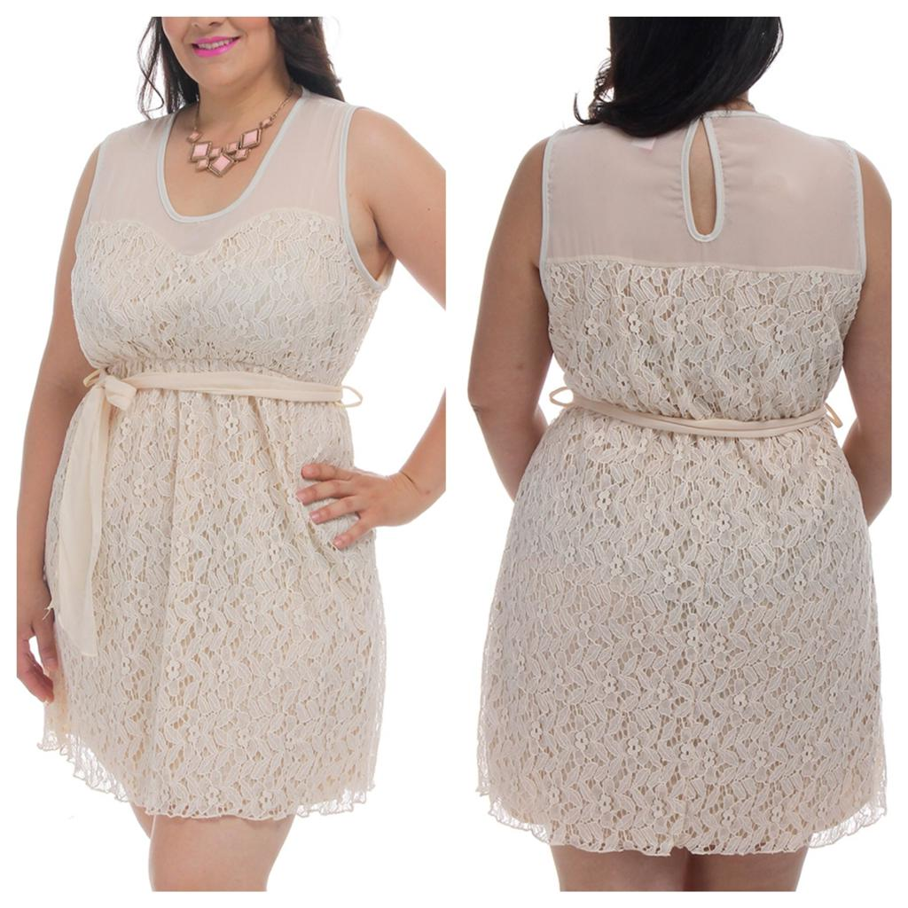 Plus Size 2x 3x Beige Ivory Lace Sheer Chiffon Dress