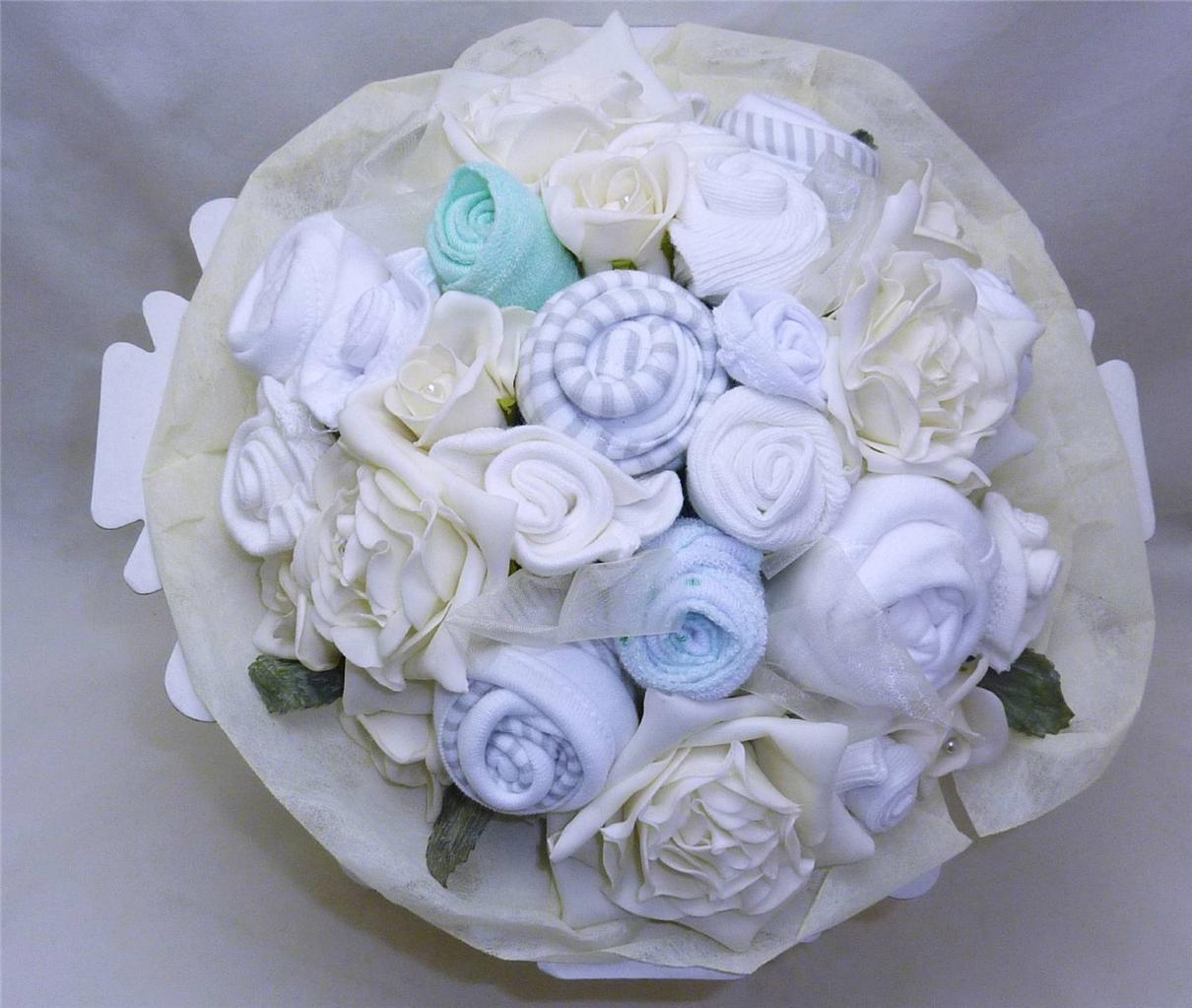 Baby Gift Bouquet New Zealand : Neutral new baby clothes bouquet gift o m nappies heart