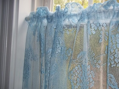 light blue sky hydrangea lace valance curtain panel tier. Black Bedroom Furniture Sets. Home Design Ideas